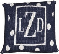 Pillow with large polka dot and  border