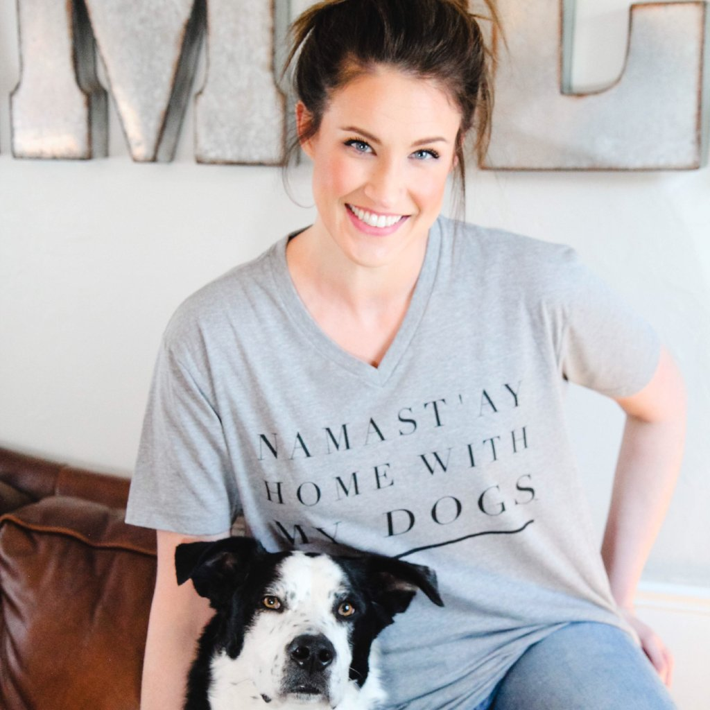 "Namast'ay Home With My Dog""S""- Short Sleeve V Neck - Treat Dreams"