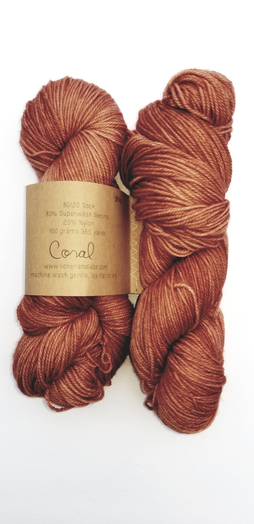 Lichen and Lace - 80/20 Sock - Coral