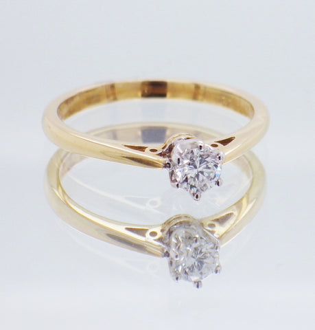 18ct Yellow and White Gold 0.22 carat Diamond Engagement Ring