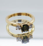 18ct Yellow Gold Green Sapphire and Diamond Dress Ring