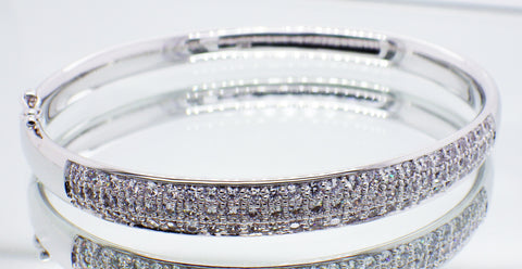 Sterling Silver Pavee CZ Set Hinged Bangle