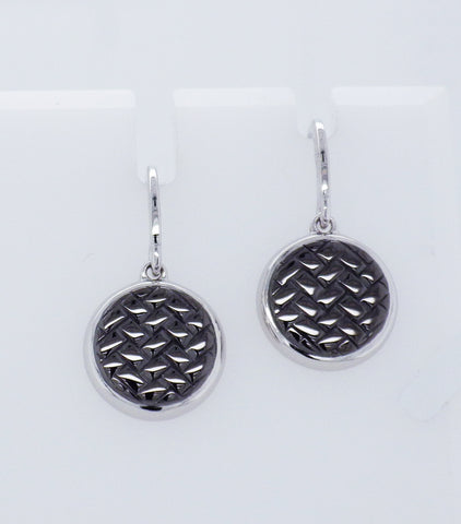 Sterling Silver & Black Rhodium Drop Disk Style Earrings