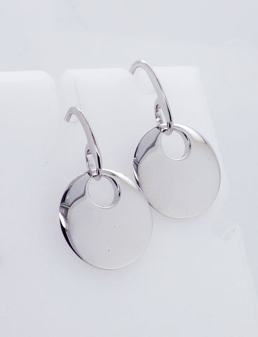 Sterling Silver Drop Disk Style Earrings
