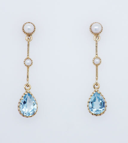 9ct Yellow Gold Topaz & Pearl Drop Earrings