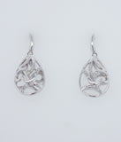 9ct White Gold Filigree Diamond set Drop Earrings