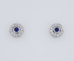 9ct White Gold Diamond & Sapphire Set Halo Stud Earrings