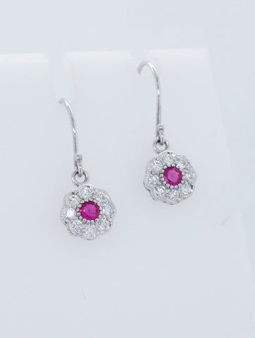 9ct White Gold Diamond & Ruby Set Daisy Drop Earrings