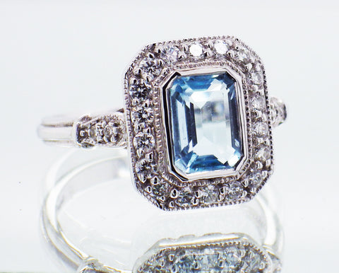 Ladies Vintage Style 9ct White Gold with Blue Topaz and Diamond Set Ring