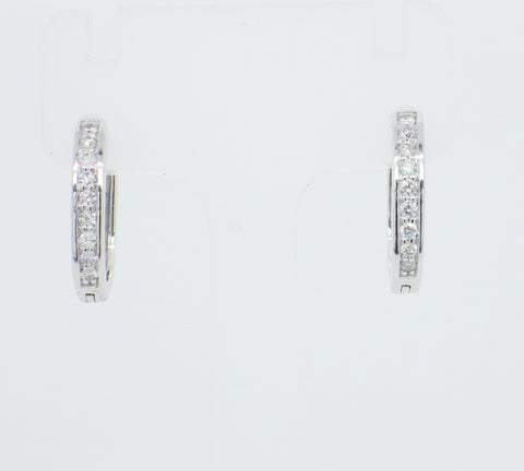 9ct White Gold Diamond Set Huggie Earrings