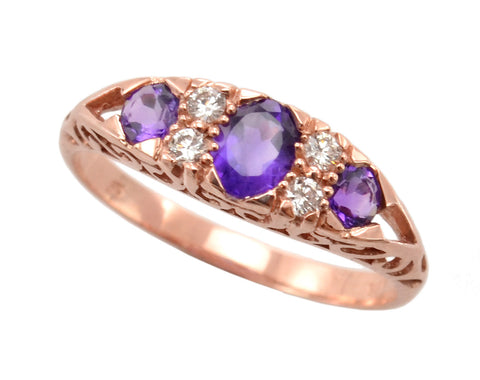 New Ladies 9ct Yellow Gold Amethyst and Diamond Dress Ring