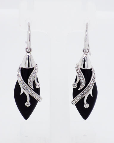 Sterling Silver Art Deco Style Marcasite/Onyx/CZ Earrings
