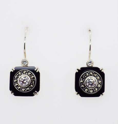 Sterling Silver Art Deco Style CZ Onyx Marcasite Earrings