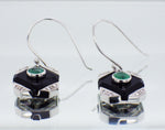 Deco Style 9ct White Gold Diamond, Oynx & Emerald Set Drop Earrings