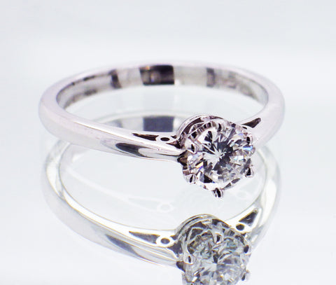 New Ladies 18ct White Gold 0.53 carat Diamond Solitaire Engagement Dress Ring