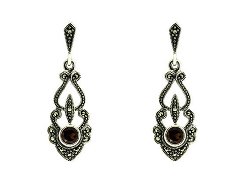 Sterling Silver Victorian Style Garnet and Marcasite Earrings