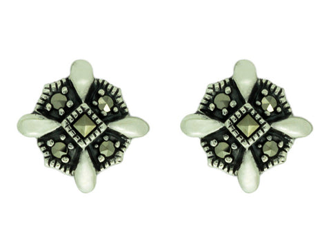 Sterling Silver Vintage Style Marcasite Earrings
