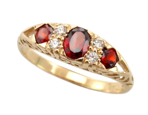 New Ladies 9ct Rose Gold Garnet and Diamond Dress Ring