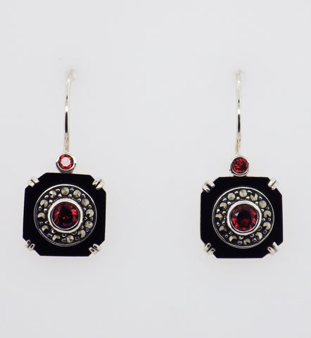 Sterling Silver Art Deco Style Garnet Onyx Marcasite Earrings