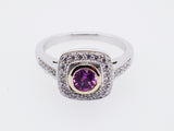 Ladies 18ct White Gold with Pink Sapphire and 0.20ct Diamond Set Ring