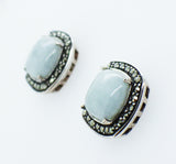 Sterling Silver Jade & Marcasite Stud Earrings