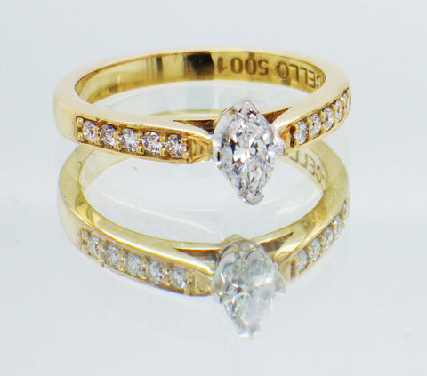 Ladies 18ct Yellow Gold Marquise Cut Solitaire Diamond Set Ring