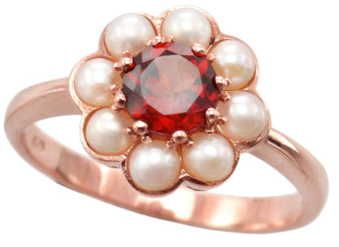 Ladies 9ct Rose Gold Pearl and Garnet Cluster Ring