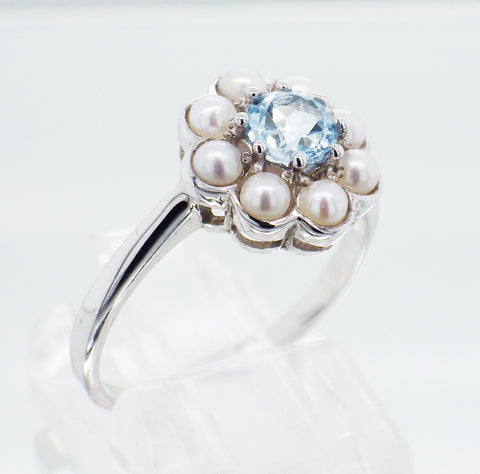 Ladies Sterling Silver Pearl and Topaz Cluster Ring