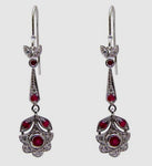 Sterling Silver Victorian Style Ruby CZ Earrings
