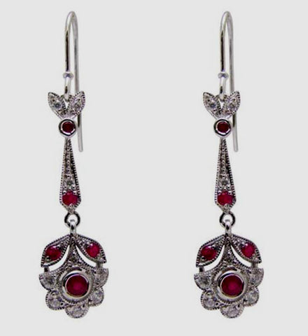 Belle Artes Victorian Style Ruby/CZ Earrings ES0609RCZ