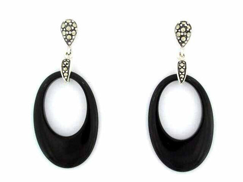 Sterling Silver Art Deco Style Marcasite/Onyx Earrings