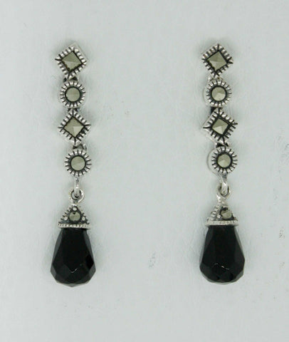 Sterling Silver Victorian Style Marcasite/Onyx Earrings