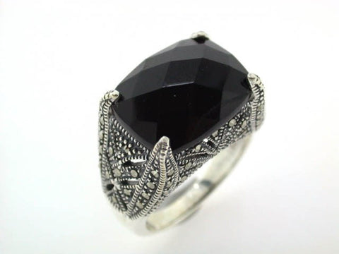 Sterling Silver Marcasite/Onyx Vintage style ring