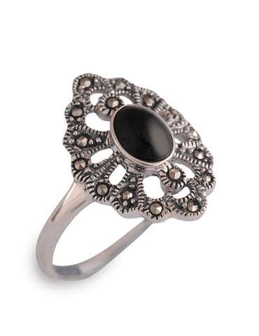 Sterlings Silver Marcasite/ONYX Vintage style ring