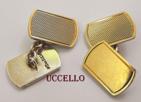 Vintage Mens 9ct Gold top on Sterling Silver Cuff links