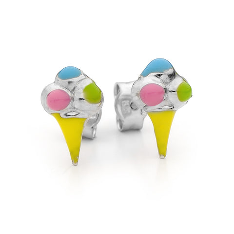 Piccolo Sterling Silver Ice Cream Enamel Stud Earrings BS29SS