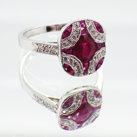 New Ladies 18ct White Gold Ruby and Diamond Dress Ring