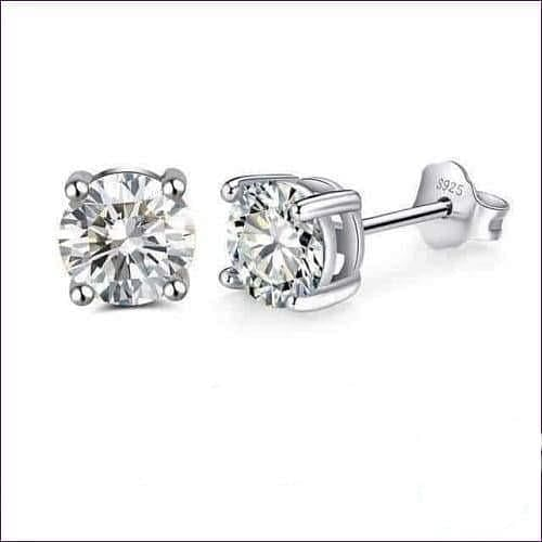 Sterling Silver Birthstone Stud Earrings - Apr-Diamond - Jewelry & Watches Fashion Jewelry Earrings