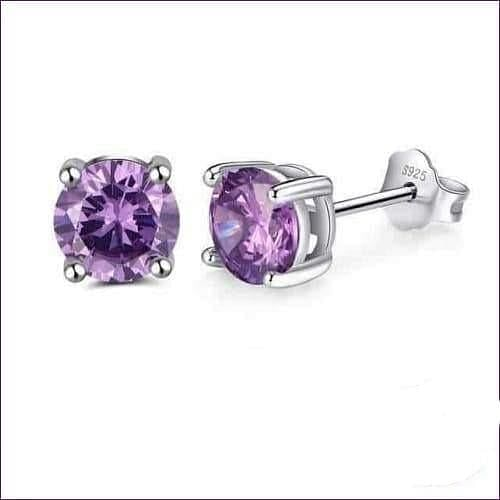Sterling Silver Birthstone Stud Earrings - Feb-Amethyst - Jewelry & Watches Fashion Jewelry Earrings