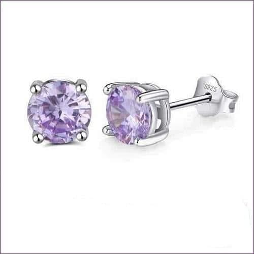 Sterling Silver Birthstone Stud Earrings - Jun-Alexandrite - Jewelry & Watches Fashion Jewelry Earrings