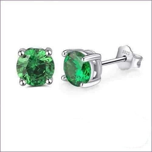 Sterling Silver Birthstone Stud Earrings - May-Emerald - Jewelry & Watches Fashion Jewelry Earrings