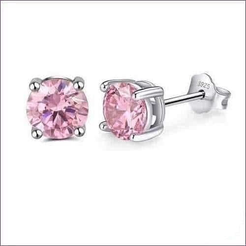 Sterling Silver Birthstone Stud Earrings - Oct-Tourmaline - Jewelry & Watches Fashion Jewelry Earrings
