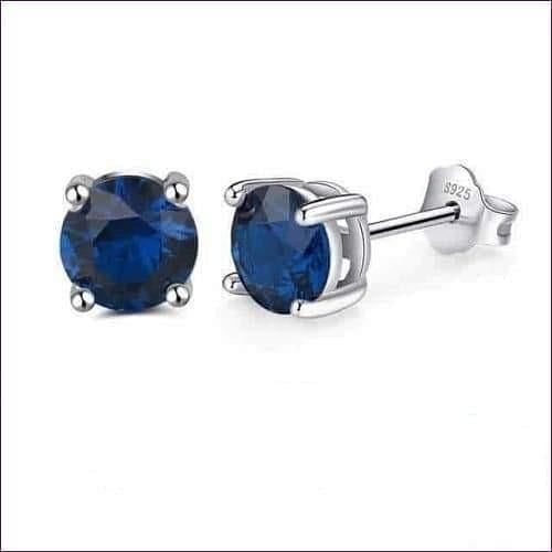Sterling Silver Birthstone Stud Earrings - Sep-Sapphire - Jewelry & Watches Fashion Jewelry Earrings