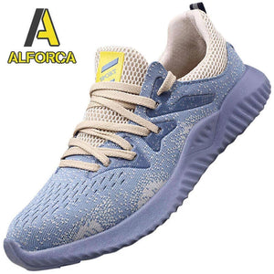 Alforca Breathable Mesh Steel Toe Safety Shoes with Bulletproof Midsole Black Blue