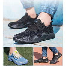 Load image into Gallery viewer, Alforca Breathable Mesh Steel Toe Safety Shoes with Bulletproof Midsole Black Blue