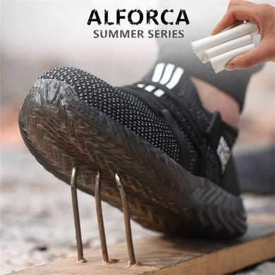 Alforca Cool Summer Series Jelly Ox-tendon Breathable Air Mesh Steel Toe Safety Shoes - Alforca