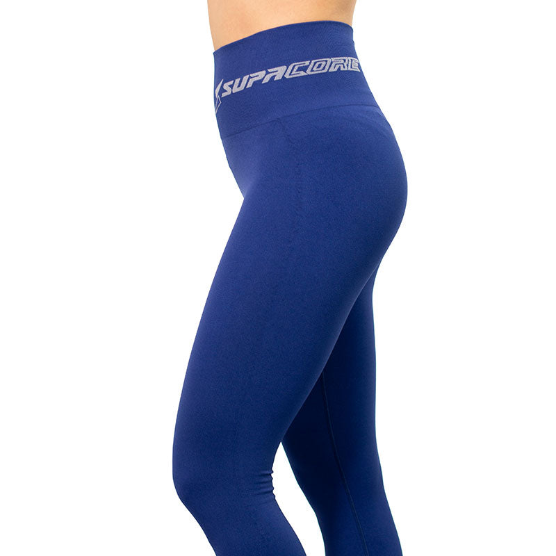 Patented Women's CORETECH® Vixen Postpartum Recovery 7/8 Legging ( Black and Blue)