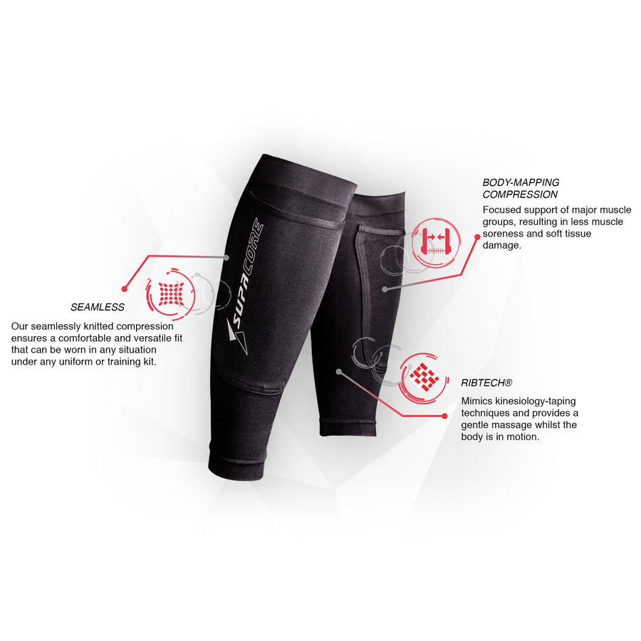 Calf Compression with Shin Pad Pocket - White