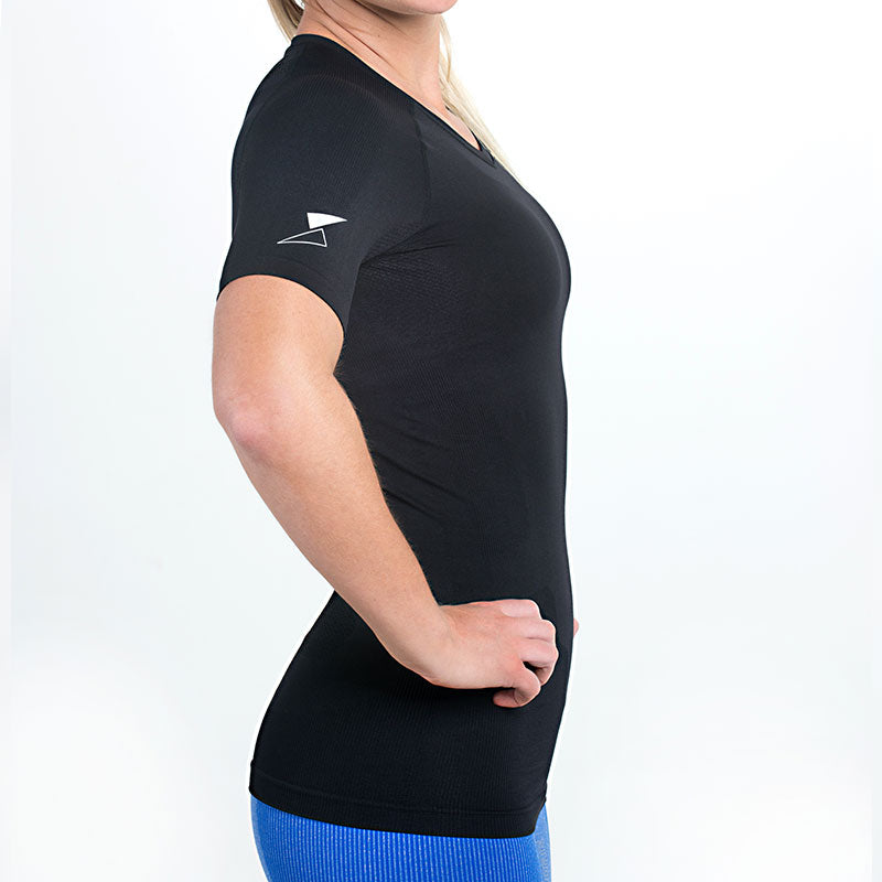 Women's Short Sleeve body mapped Compression Top (Multi Color)