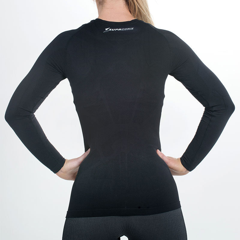 Women's Long Sleeve Compression Top (Pure Black)